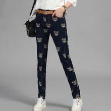 Новая Мода Гарем Джинсы женские Эластичные Высокой Талии Брюки Свободные Джинсовые Брюки Повседневная Одежда Детеныши Печать