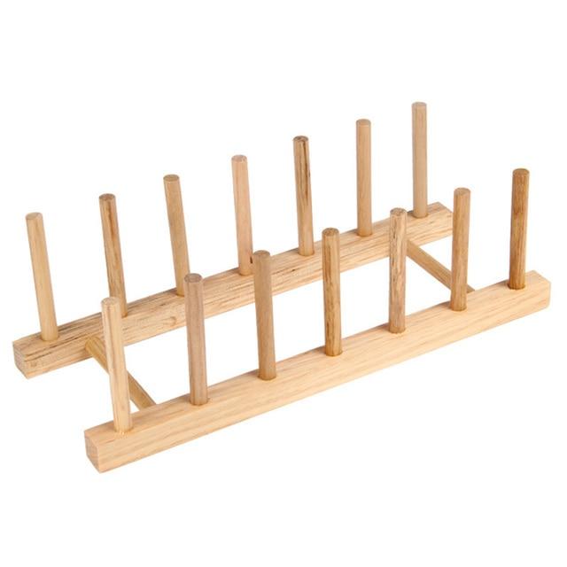 Organizador de la cocina plato de madera estante placa - Soportes para estantes de madera ...