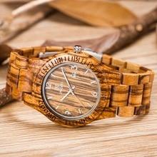 Zebra Ebony Bamboo Wood Wrist Watch