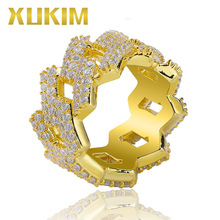 Xukim Jewelry Gold Silver Color Prong Setting Full CZ Iced Out Rhombs Rings For Men Women Gift Rapper Hip Hop