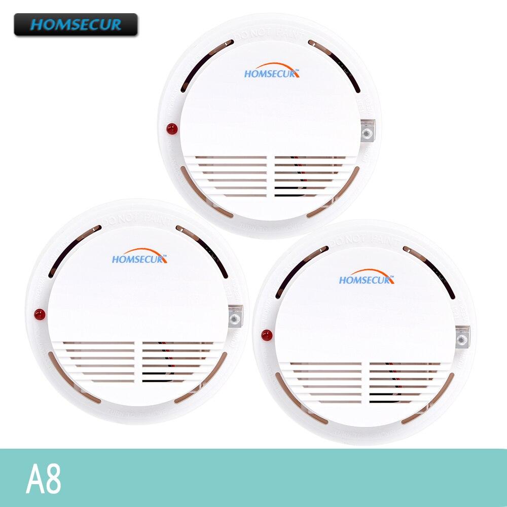 HOMSECUR A8 HOMSECUR Wireless Rook/Fire Alarm Detector 3 pcs Voor Onze 433 MHz Alarmsysteem-in Rookmelder van Veiligheid en bescherming op AliExpress - 11.11_Dubbel 11Vrijgezellendag 1