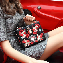 Black Pu Red embroidery Famous Brand Women Shoulder Bag Pearl Evening Clutches Party Purse Wedding tote bag Ladies handbag Z8120