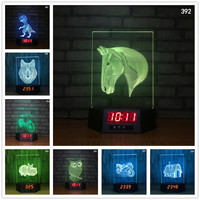 Horse Owl Wolf Motorcycle 3D Illusion Calendar Clock Lamp 7 Colors Changing GRB Table Lamp Holiday Christmas Gifts Night Light