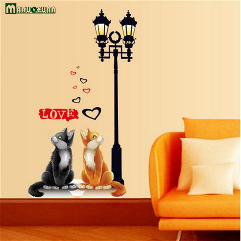 Maruoxuan 2017 Removable Vinyl Wall Stickers Home Decor Cute Couple Cat Under Street Lamp Wall Decor Kids Room Poster