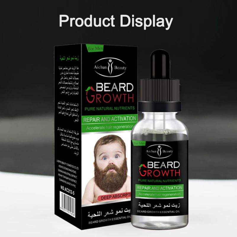 100% Natural Organic Men Beard Growth Oil Beard Wax balm Hair Loss Products Leave-In Conditioner for Groomed Beard Growth 30ml 5