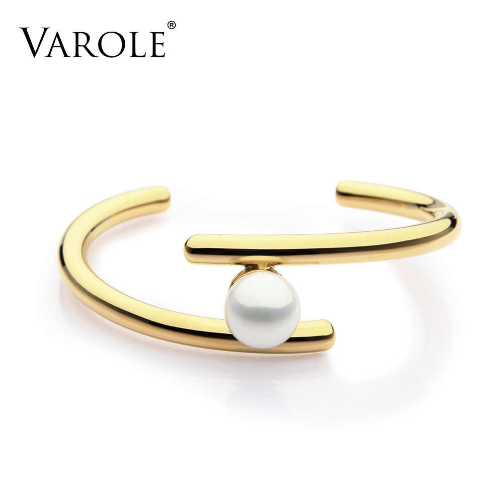 VAROLE Simple Line Pearl Cuff Bracelets & Bangles Open Gold Color Love Bangle Bracelets for Women Jewelry Pulseira Feminina
