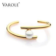 Varoleシンプルなライン真珠カフブレスレット & バングルオープンゴールドカラーの愛のためのジュエリーpulseira feminina