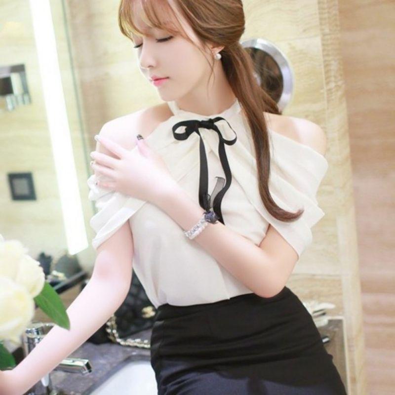 Women Halter Neck Off Shoulder Ruffles Chiffon Blouse Women Black Bow Blouse Shirt Fashion Elegant Street Wear