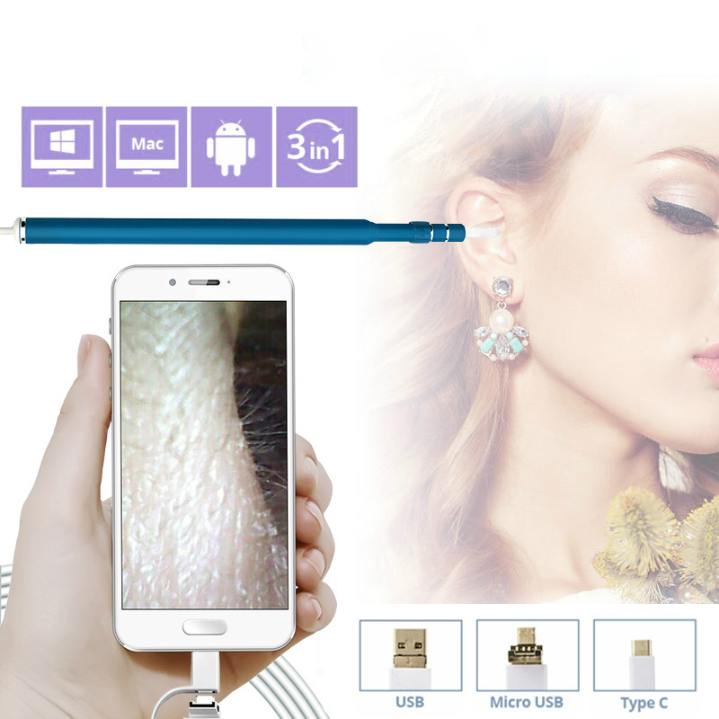 Otoscope Camera 720P Endoscope HD Visual Ear Spoon EarPick In-Ear Cleaner Camera OTG Android Cleaning Usb Endoscope Borescope 2018 newest 4 9mm lens medical endoscope camera for otg android phone pc usb borescope inspection otoscope camera for ear nose