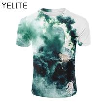 YELITE 2019 Newest Blue smoke sleeve Summer T-shirt palm 3d