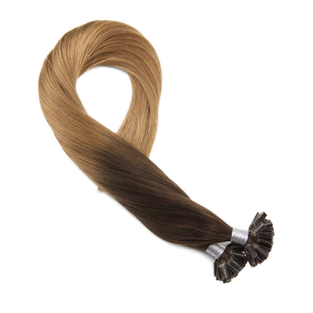 Moresoo U Tip Hair Extensions Keratin Remy Hair Extenions Color #4 Brown Ombre To #27 Blonde U-tip Human Hair Extensions 50g