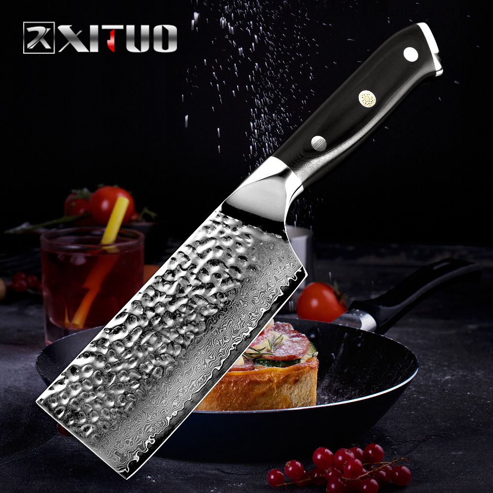 XITUO 5 in Chef Knife Japanese Damascus Steel Nakiri Cleaver Knife  Handmade Forged Vegetables Fruit Frozen Santoku Utility KniXITUO 5 in Chef Knife Japanese Damascus Steel Nakiri Cleaver Knife  Handmade Forged Vegetables Fruit Frozen Santoku Utility Kni