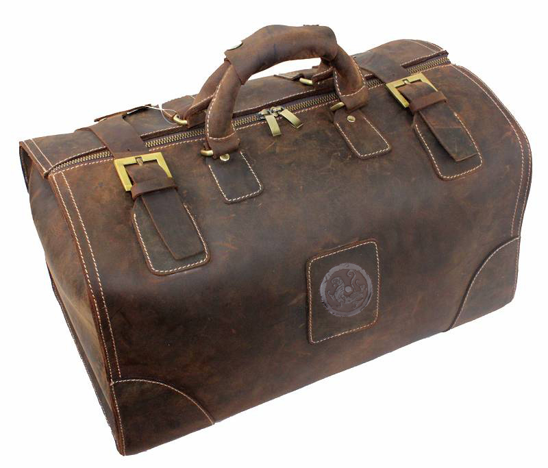High quality cowhide crazy horse leather genuine leather male Larger capacity vintage travel Luggage Suitcase Tote