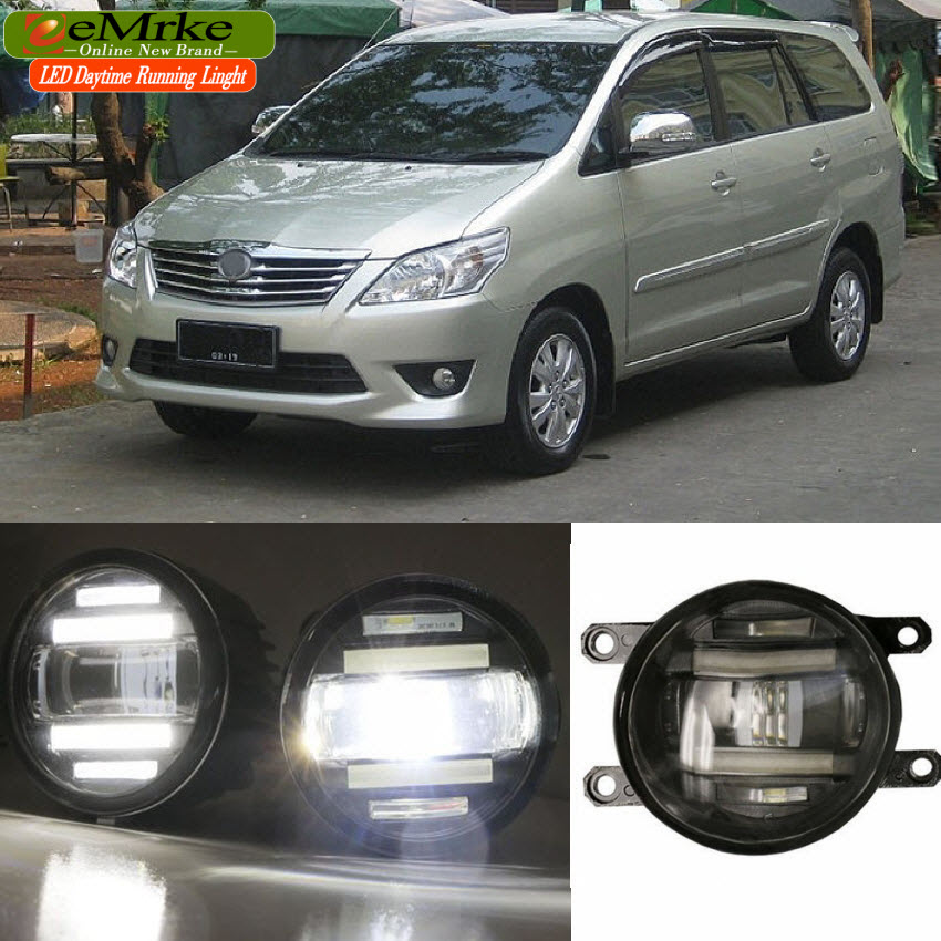 eeMrke Xenon White High Power 2in1 LED DRL Projector Fog Lamp With Lens For Toyota Innova AN40 2012-2015 eemrke xenon white high power 2 in 1 led drl projector fog lamp with lens daytime running lights for renault kangoo 2 2008 2015