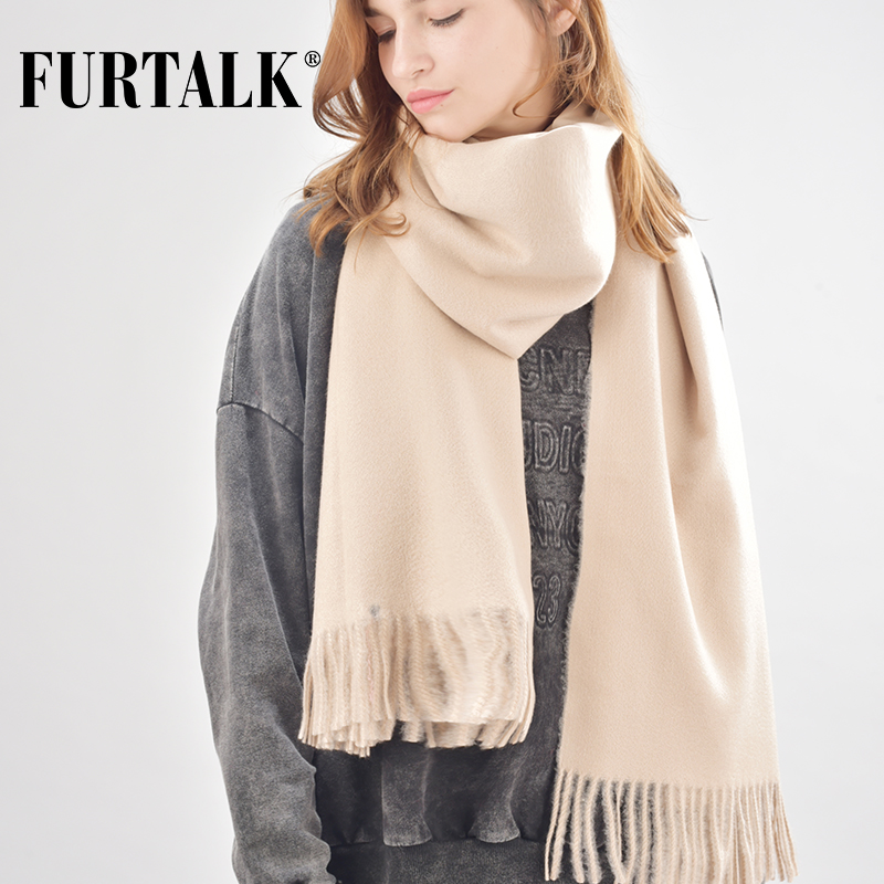FURTALK Wool Cashmere Scarf For Women Men Winter Cashmere Poncho Scarves Luxury Brand Shawl Pashmina Head Scarf Foulard Femme