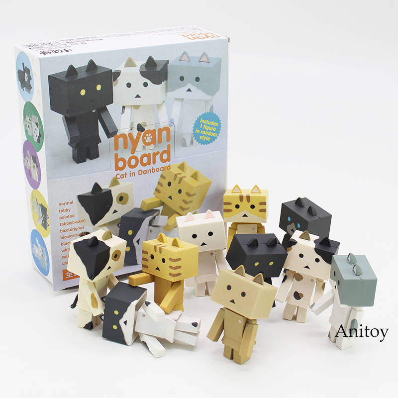 Cute nyan board Cat in Danboard Mini PVC Action Figures Collectible Model Toys Gifts 10pcs/set 7cm 12pcs set children kids toys gift mini figures toys little pet animal cat dog lps action figures