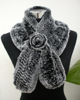 DL6109 Hot Selling Lady Real Natural Rabbit Fur Scarves Wraps Winter Women Fur Accessory Snood Females
