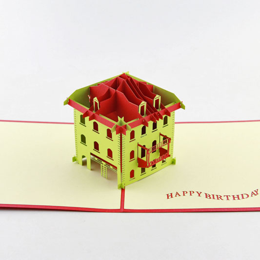 3D Handcrafted Happy Birthday 3D Pop Up Card House house party pop up greeting card house warming invite pop up birthday card 3d birthday