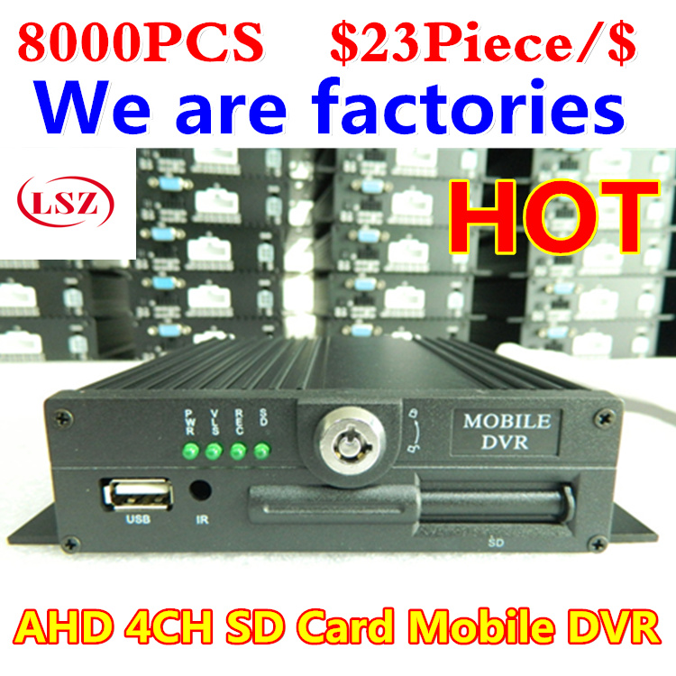 4CH SD card, MDVR car video recorder, bus monitor host, H.264 wide voltage, 4 video spot 4ch sd 256g h 264 car vehicle dvr video recorder 9 monitor sony 480tvl ccd car dome ir camera for truck van bus free shipping