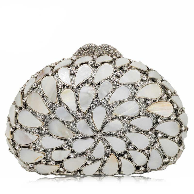 Новое поступление Серебряный клатч сумка Для женщин вечерние клатчи сумки со стразами сумочка для ужина выдалбливают оболочки в форме бриллианта вечерние кошелек