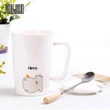 JOUDOO White Ceramic Mug Cup With Lid And Spoon Cute Cartoon 400ML Milk Mugs Brief Office Coffee Tea Water TC0010 35