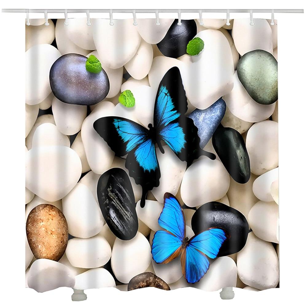 Butterfly waterproof bath curtain cheap douche gordijn polyester fabric printed 3d stone a shower curtain