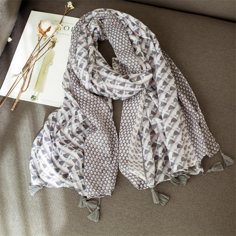 Fashion geometric pattern hijab scarf tassels brand houndstooth women scarves shawls pashmina bandana muslim scarfs mufflers