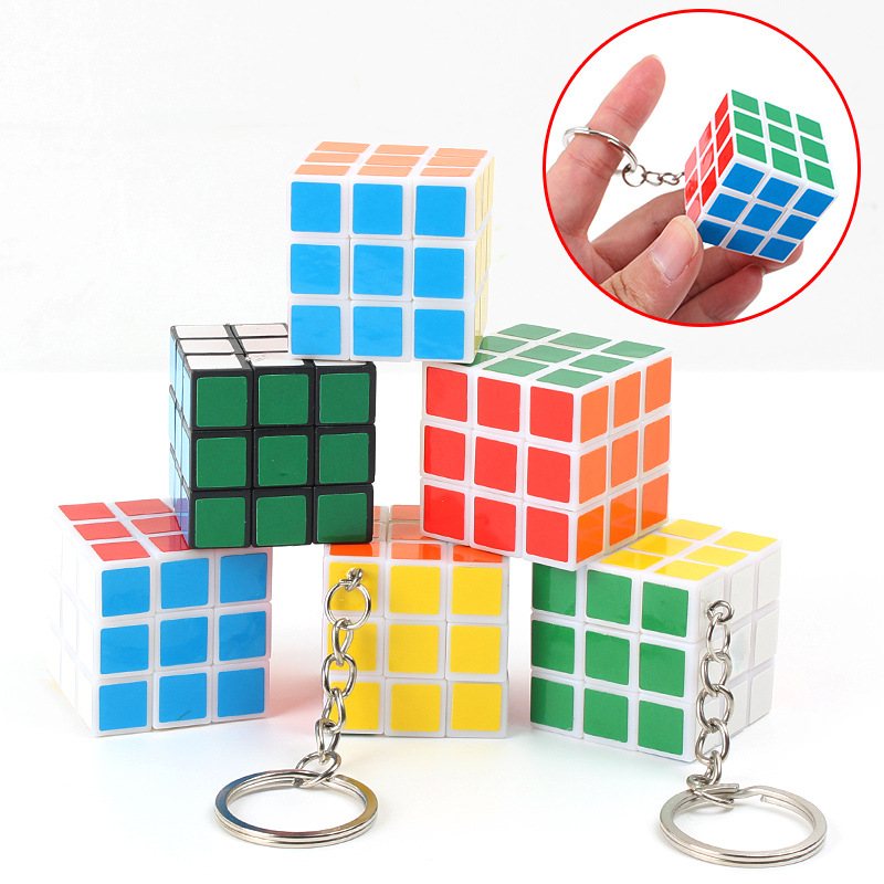 Child 3x3x3 Cm Speed Magic Cubes Puzzle Cube Sticker Adult Education Toys For Children With Key Chain