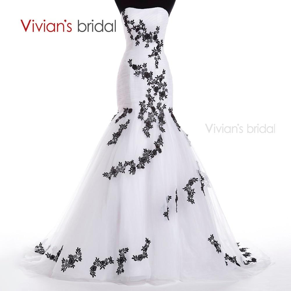 Vivian's Bridal Black Appliques White Mermaid Wedding Dress Lång Sweetheart Bröllopsklänningar