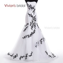 Vivian's Bridal Black Appliques White Mermaid Wedding Dress Long Sweetheart Wedding Gowns