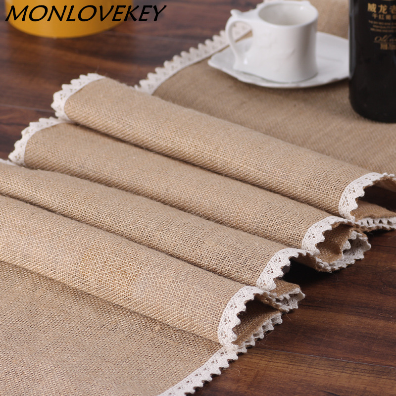 3 Sizes Vintage Burlap Lace Hessian Table Runner Natural