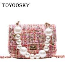 цены TOYOOSKY Wool Shoulder Bag Luxury Handbags Designer Brand Ladies Chain Beading Mini Crossbody Messenger Bags sac a main femme