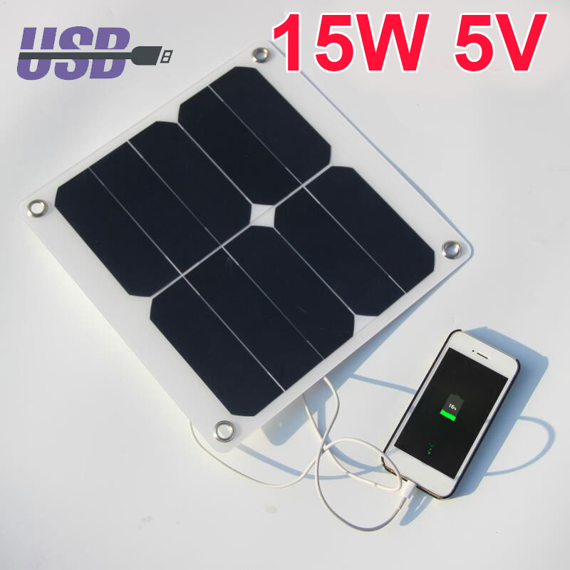 2018 Hot Portable 5V 15W Solar Panel Power Bank with 4 fixing clip DIY Mobile Phone Charger Panel Portable Climbing Solar Panel