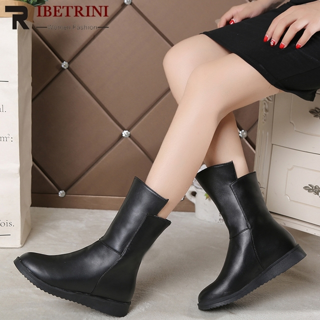 fb548fe61d67 RIBETRINI New Arrival Slip On Ankle Boots For Women Low Wedges Heels Black  Winter Boots Women Shoes Woman 2 Kinds Lining