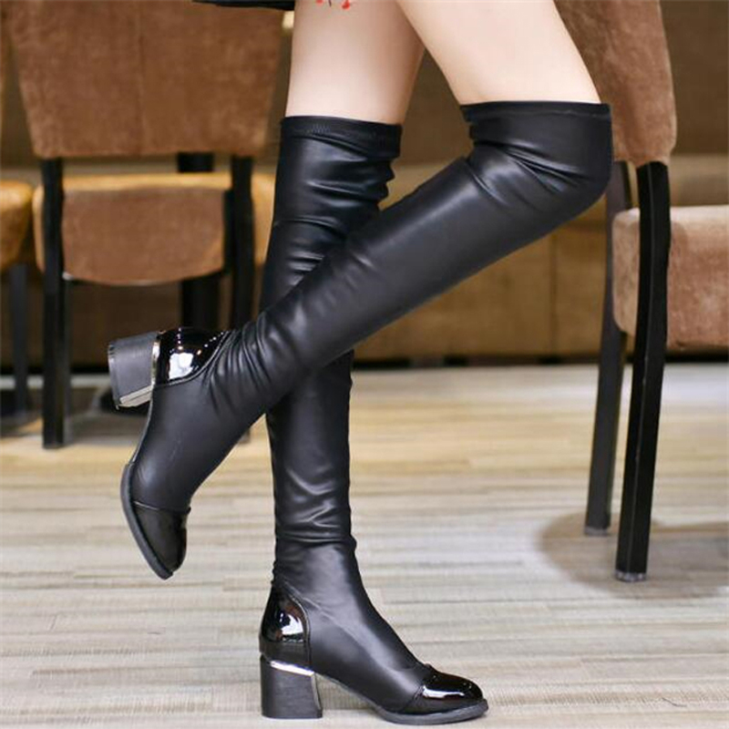 2016 fashion pu leather knee boots sequined toe