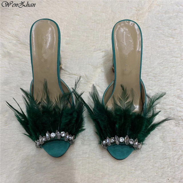 New feather Buckle Open Toe Wedding Sandals Women Fashion Summer Luxury Slip On Green High Heel Shoes Plus Size WENZHAN A97-3