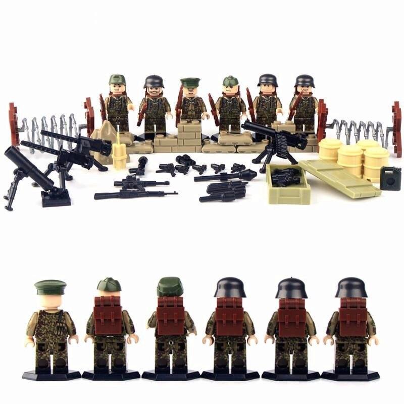 6 pcs Allemand Armée Guerre Mondiale 2 Gun Arme Militaire SWAT CS Marine Soldat Building Blocks Figures Garçon Jouet Éducatif Enfants cadeau