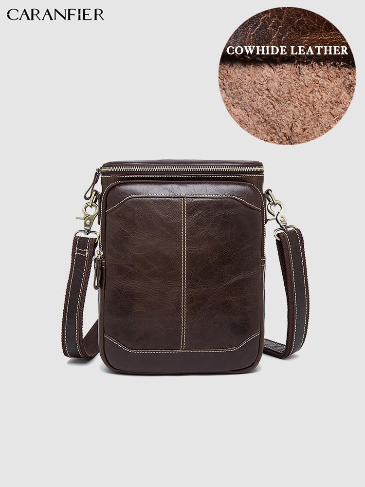 CARANFIER Mens Travel Bags Shoulder Messenger Bags Genuine Cowhide Leather Casual Zipper Crossbody Bags Business Male