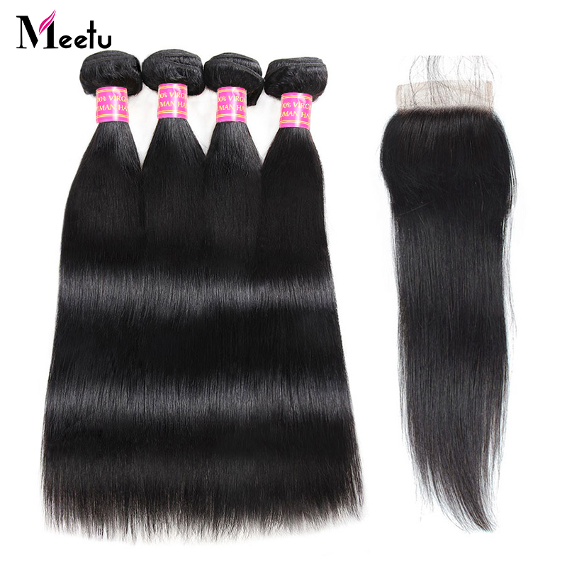 Indian Straight Hair Bundles with Closure Baby Hair 4 Bundles with Closure Non Remy 100 Human
