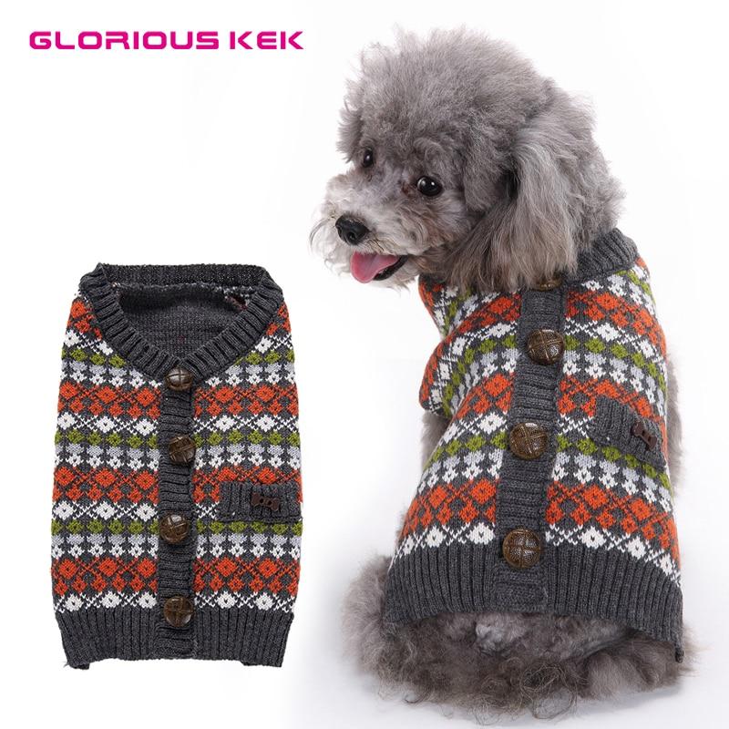 GLORIOUS KEK Cute Dog Sweaters Winter/Autumn Dog Clothes Knit Pet ...