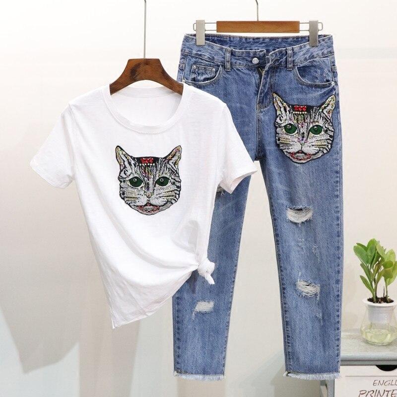Здесь продается  Summer Fashion Brand Women Pant Suit Cat Sequins Embroidery T Shirt And Ankle Boyfriend Denim Jeans Two Peice Set  Одежда и аксессуары