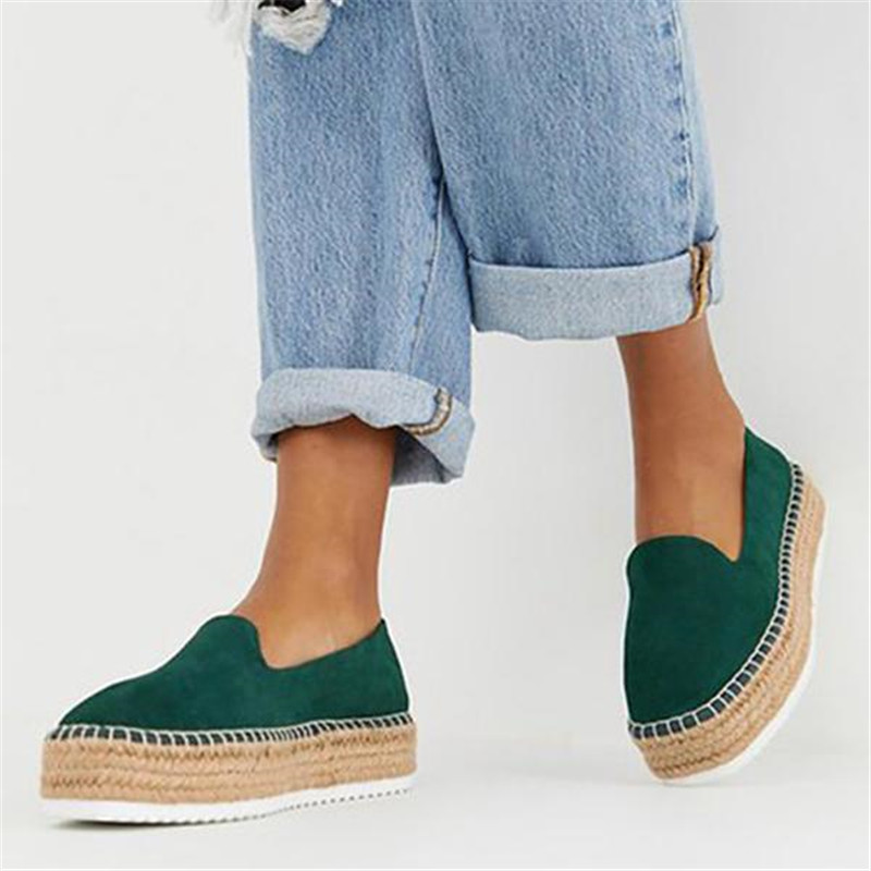 SHUJIN Faux Suede Espadrilles Shoes  Casual Loafers Women  Flats Ballet Comfortable Ladies  Zapatos Mujer