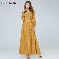 Siskakia Elegant Ethnic Floral Embroidery Maxi long Dress Single Breasted High Waist Swing Women Dresses Long Sleeve Autumn Fall