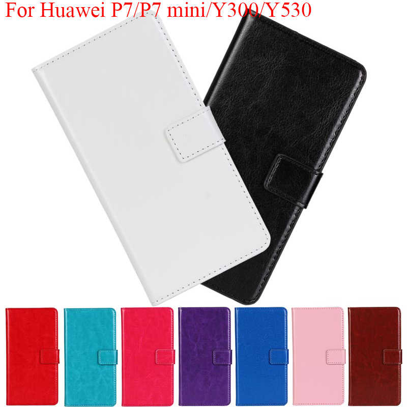 For Huawei P7 mini Y300 Y530 Flip stand Cover PU Leather Wallet case Card Pocket Phone Bags for Huawei Ascend p7 mini y300 y530