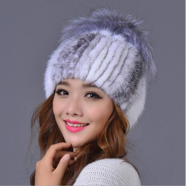 New Collection Winter Cap Women Handmade Knitted Mink Hat With Silver Fox Fur Pom Pom Hat MS-14