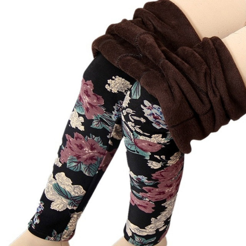 bcf48636c3a Detail Feedback Questions about women large size thick warm fleece winter  leggings mujer leopard plaid floral spliced patten legging lady stretch  skinny ...