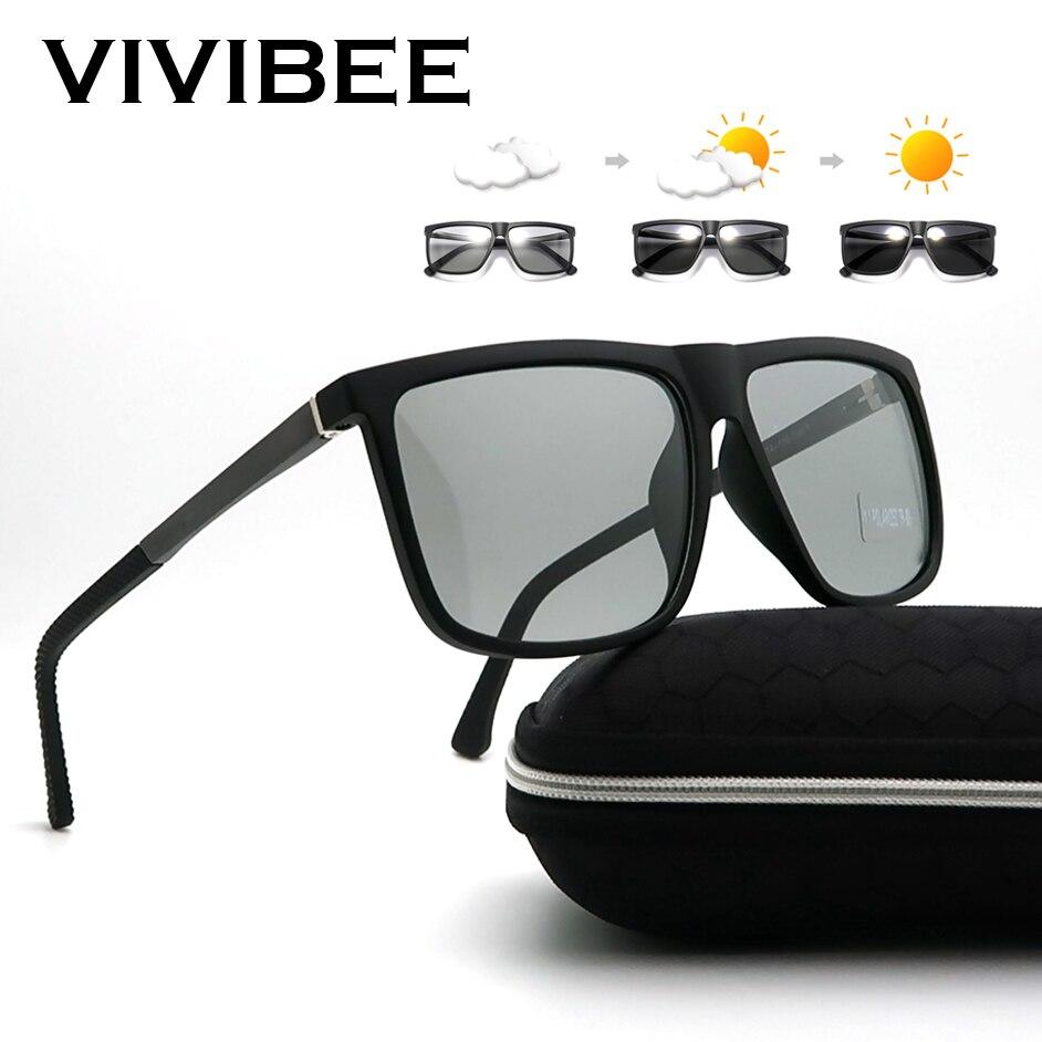 VIVIBEE Oversized Photochromic Polarized Aluminium Magnesium Sunglasses Men Square 2019 Women Polarised Color Changing Sunglass