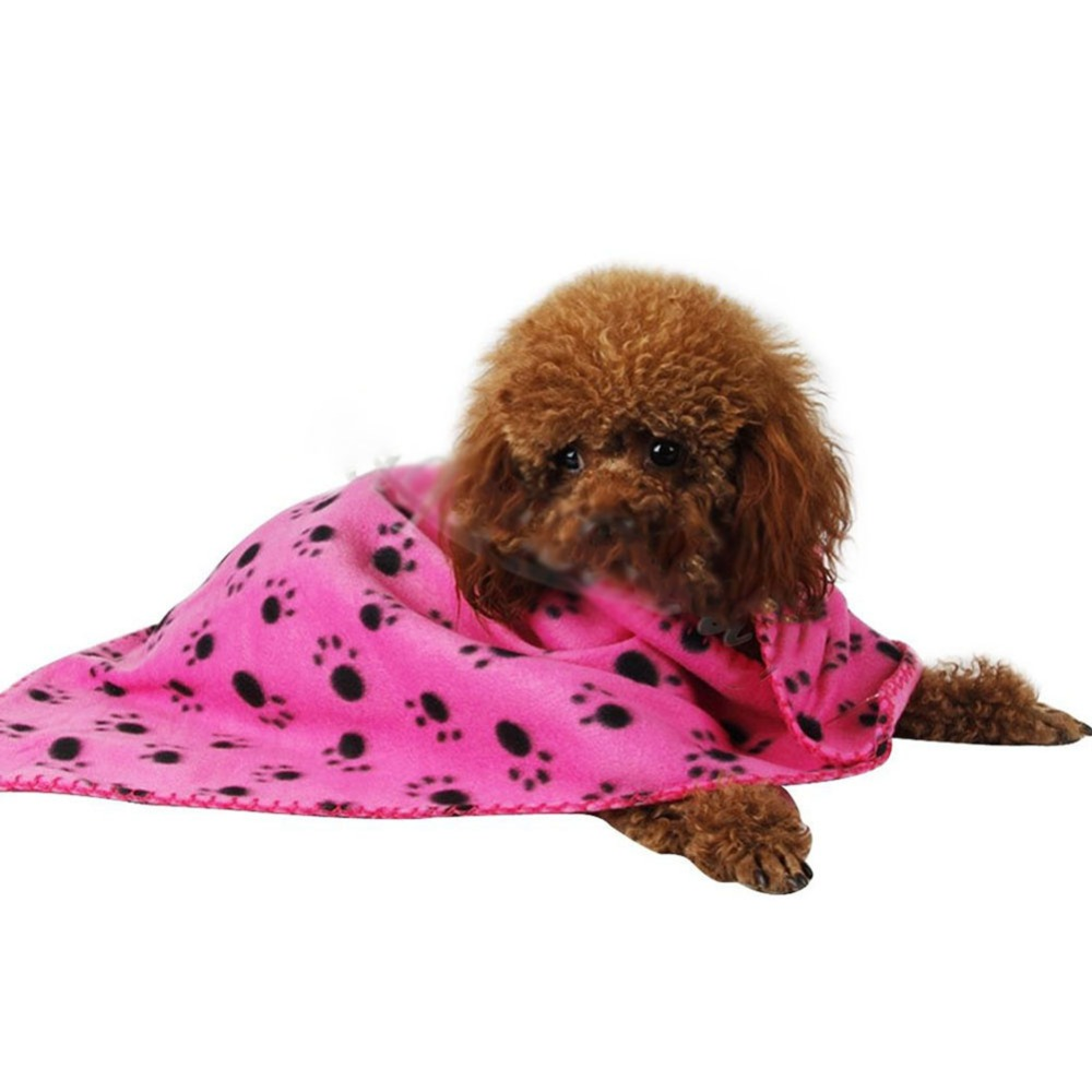 Dog Cat Paw Printed Fleece Cozy Couture Blanket Mat Lovely Design Wholesale Dog Beds/Mats