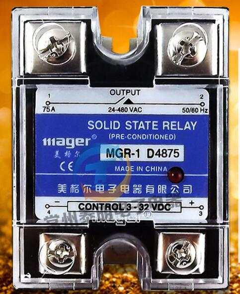 mager Genuine new original Single-phase solid-state relay SSR MGR-1 D4875 75A DC-AC DC-AC ssr mgr 1 d4860 meike er normally open type single phase solid state relay 60a dc ac