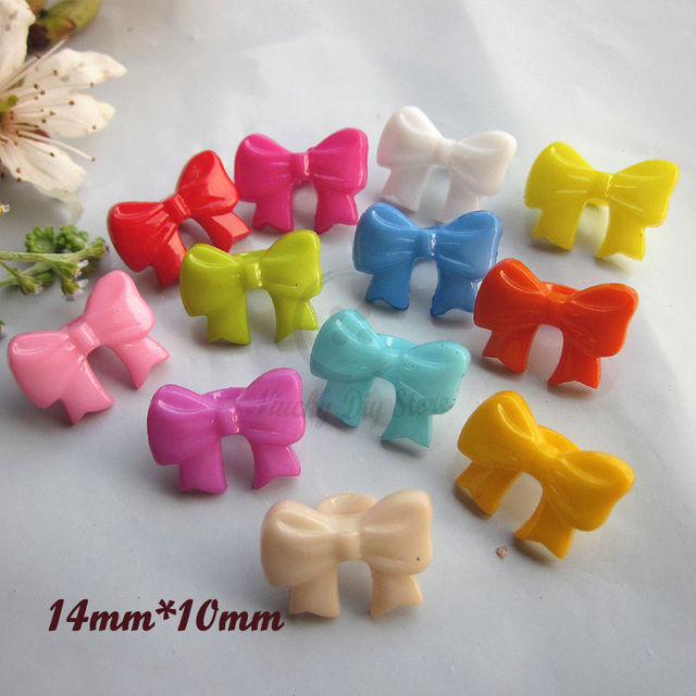 60pcs 14mm Mixed Color Bow Tie Plastic Buttons For Diy Hair